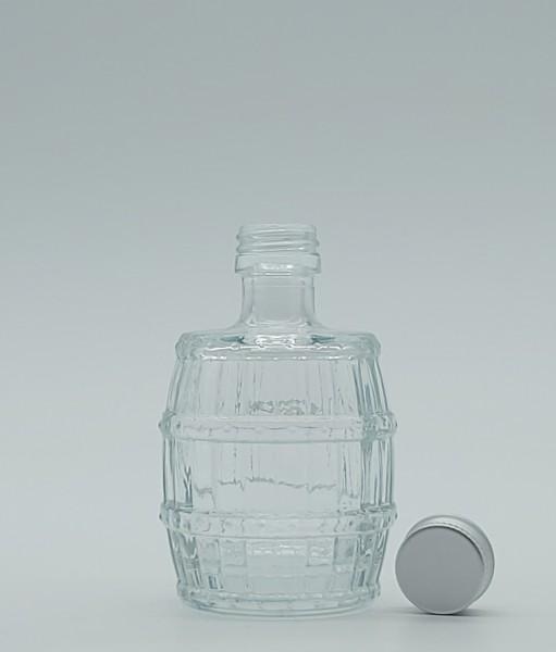 "1 stk. 5cl Glasflasche ""Fässchen"" inkl. Aluminiumdeckel"
